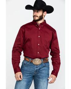 Cody James Core Men's Solid Maroon Twill Long Sleeve Western Shirt , Maroon, hi-res