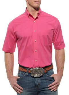 Ariat Solid Hot Pink Poplin Shirt, Hot Pink, hi-res