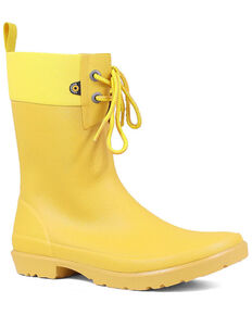 Bogs Women's Mustard Flora 2 Eye Rubber Boots - Round Toe, Mustard, hi-res