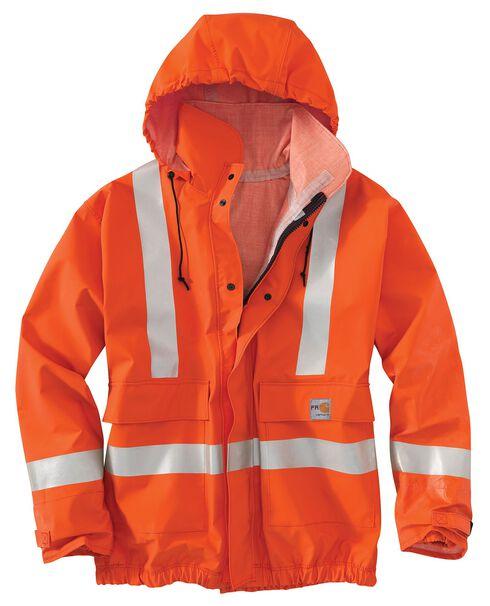 Carhartt Flame Resistant Rain Jacket, Orange, hi-res