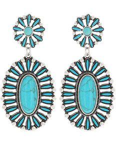 Montana Silversmiths Women's Boldly Blue Turquoise Attitude Earrings, Turquoise, hi-res