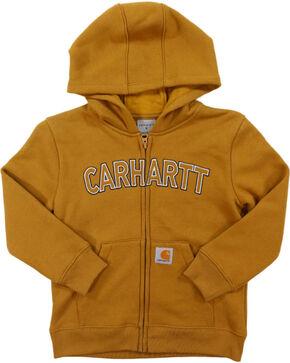 Carhartt Little Boys' Logo Fleece Zip Sweatshirt, Brown, hi-res
