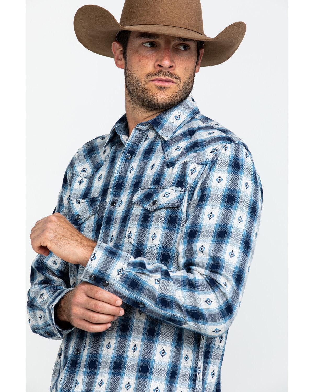 Plaid Long Sleeve Western Flannel Shirt