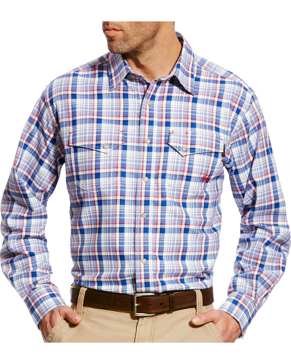 Ariat Men's Karnes Blue Multi FR Plaid Snap Work Shirt, Blue, hi-res