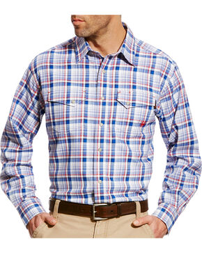 Ariat Men's Karnes Blue Multi FR Plaid Snap Work Shirt - Big & Tall, Blue, hi-res