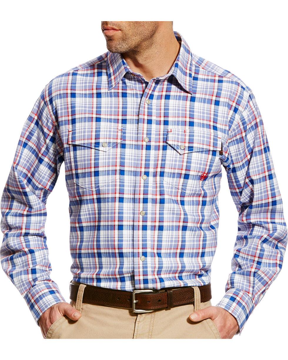 Ariat Men's Karnes Blue Multi FR Plaid Snap Work Shirt - Big & Tall, Blue, hi-res