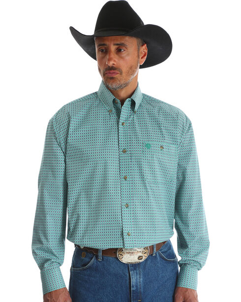 Wrangler Men's Blue George Strait One Pocket Print Shirt - Big & Tall , Blue, hi-res