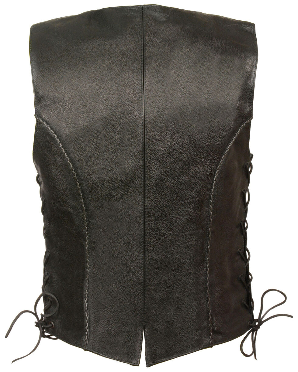 Milwaukee Leather Women's Thin Braid Snap Front Vest, Black, hi-res
