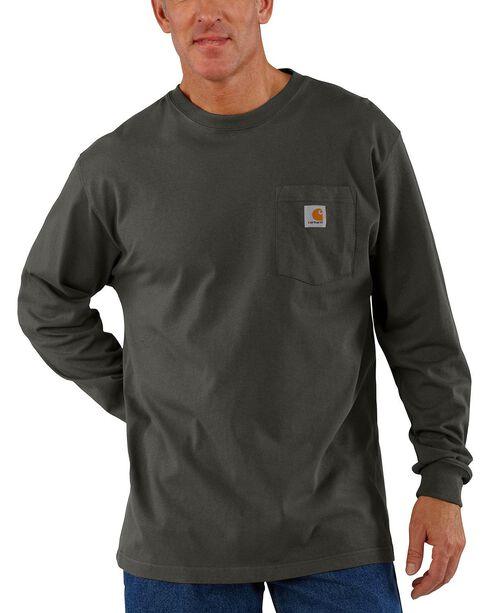 Carhartt Long Sleeve Pocket Work Shirt - Tall, Bark, hi-res