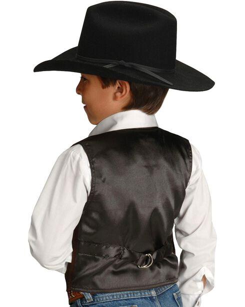 Roper Boys' Western Suede Vest - 7-12, Brown, hi-res