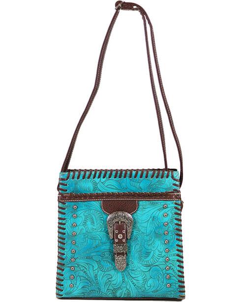 Savana Women's Brown Filigree Engraved Crossbody Bag , Brown, hi-res