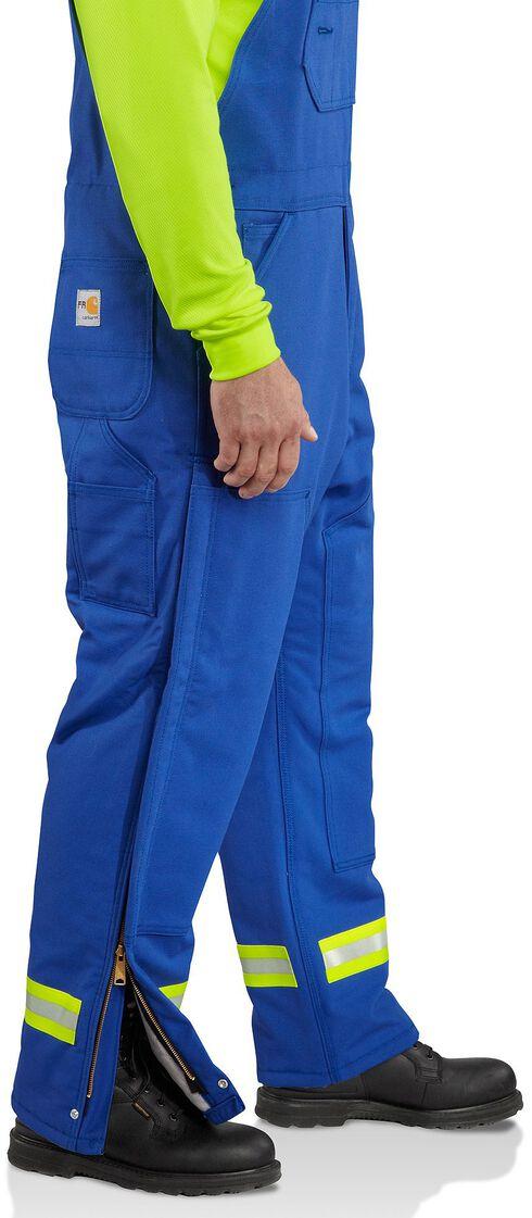 Carhartt Flame Resistant Reflective Quilt Lined Duck Bib Overalls - Big & Tall, Royal, hi-res