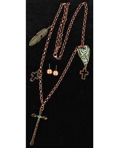 Blazin Roxx Patina Copper Charms Necklace & Earrings Set, Copper, hi-res