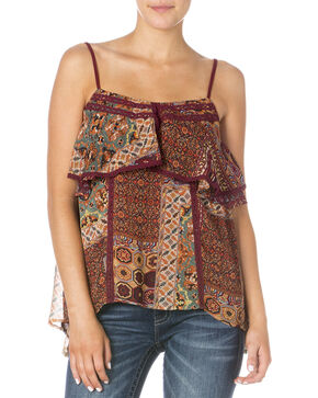 Miss Me Women's Burgundy Handkerchief Spaghetti Strap Top, Burgundy, hi-res