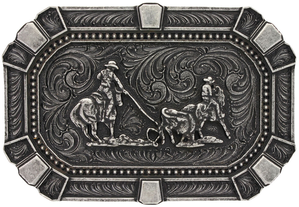 Montana Silversmiths Classic Impressions Team Roper Attitude Belt Buckle, Silver, hi-res
