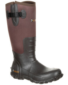 Rocky Men's Waterproof Rubber Work Boots - Round Toe, Brown, hi-res