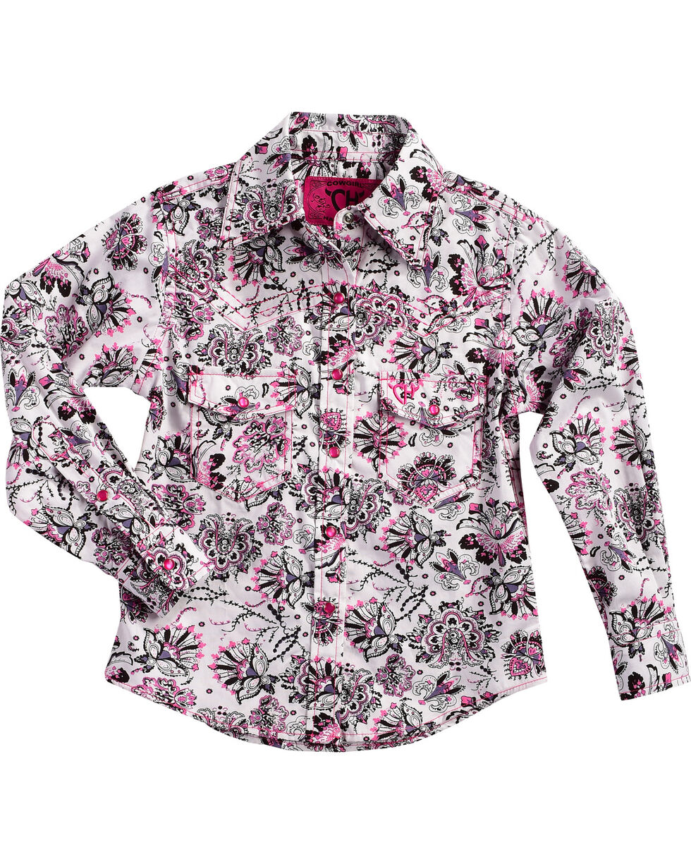 Cowgirl Hardware Girls' Peacock Long Sleeve Shirt, Pink, hi-res