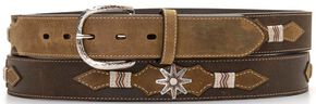 Nocona Leather Overlay Spur Rowel Concho Belt, Brown, hi-res