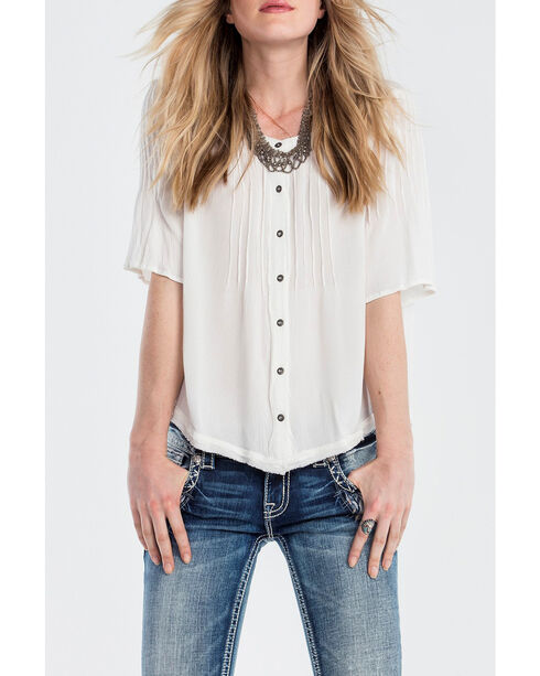 Miss Me Women's Ivory Fringe Trim Blouse, Ivory, hi-res