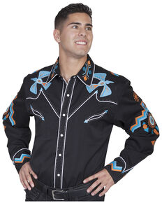 Scully Men's Phoenix Embroidered Retro Long Sleeve Western Shirt , Black, hi-res