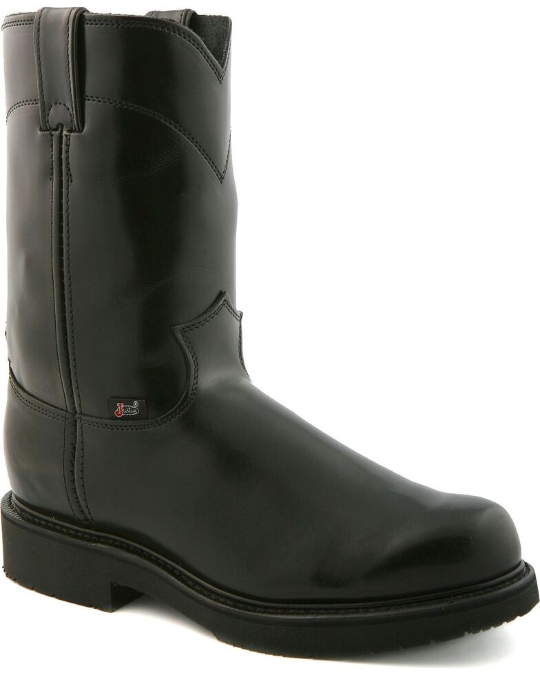 6078fbf54a6 Justin Men's Black Polished EH Pull-On Work Boots - Soft Toe