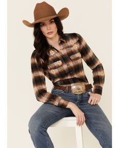 Shyanne Women's Pink Plaid Flannel Long Sleeve Snap Western Shirt , Pink, hi-res