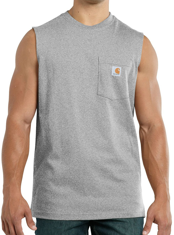 Carhartt Workwear Pocket Sleeveless Shirt, Hthr Grey, hi-res