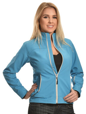 Cowgirl Legend Women's Turquoise Bonded Softshell Jacket , Turquoise, hi-res