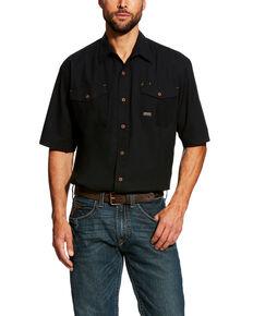 Ariat Men's Black Rebar Made Tough Vent Short Sleeve Work Shirt - Tall , Black, hi-res