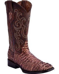 Ferrini Women's Caiman Print Western Boots - Square Toe, Gold, hi-res