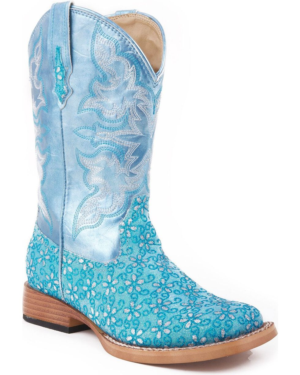 Roper Girls' Blue Floral Glitter Cowgirl Boots, Blue, hi-res