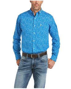 Ariat Men's Blue Team Whelan Geo Print Long Sleeve Button-Down Western Shirt , Blue, hi-res