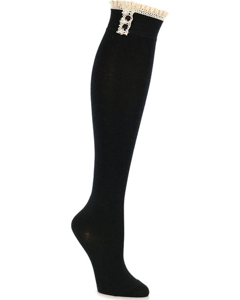 Shyanne Women's Crochet Trim Knee High Socks, Black, hi-res