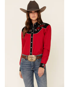 Cruel Girl Women's Rose Embroidered Long Sleeve Western Rodeo Shirt , Red, hi-res