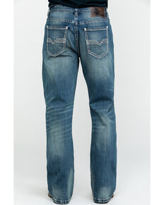 Rock & Roll Cowboy Men's Small V Stitch Relex Double Barrel Bootcut Jeans , Blue, hi-res