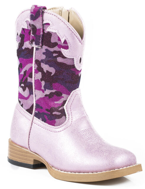 Roper Toddler Girls' Glitter Camo Cowgirl Boots - Square Toe, Pink, hi-res