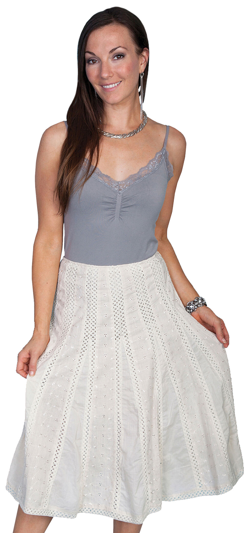 Scully Eyelet Skirt, Ivory, hi-res
