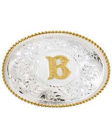 """Montana Silversmiths Initial """"B"""" Buckle, Silver, hi-res"""