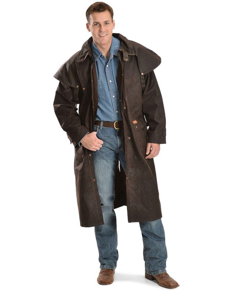 Outback Trading Co. Men's Long Oilskin Duster, Brown, hi-res
