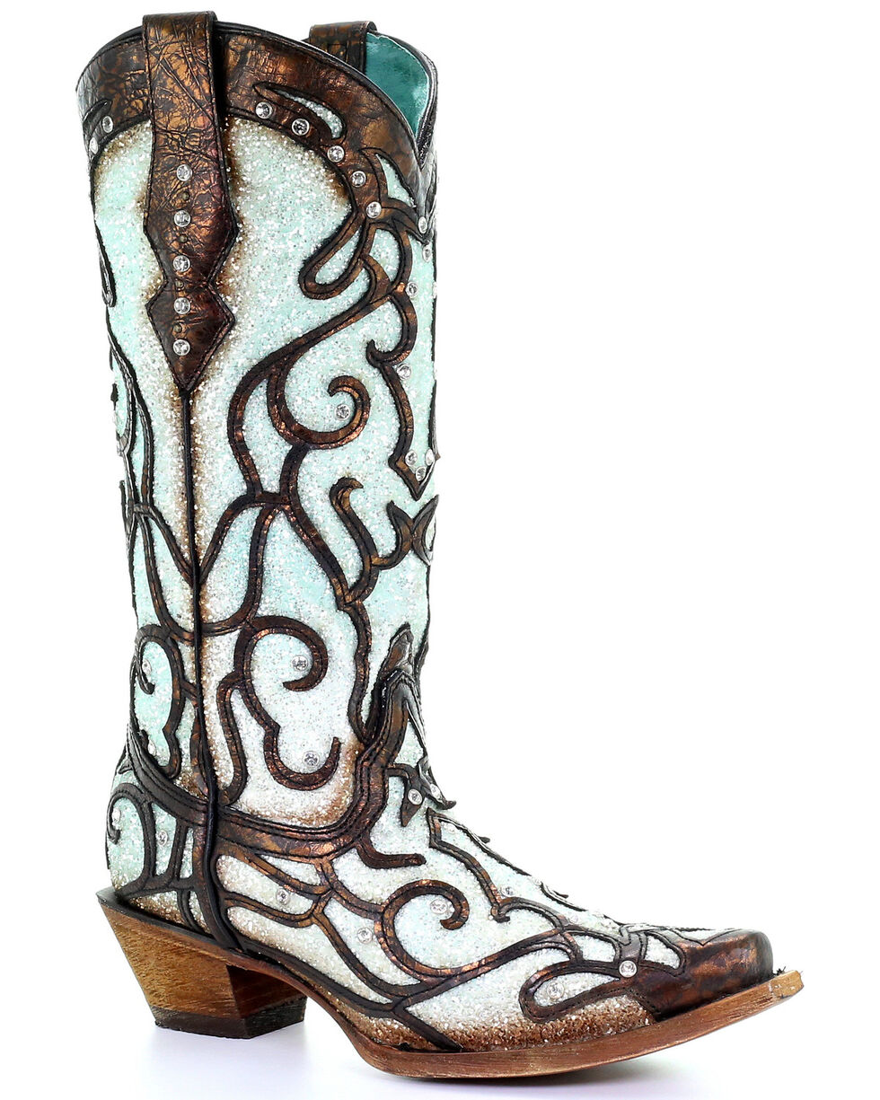 Corral Women's Sky Blue Glitter Western Boots - Snip Toe, Brown, hi-res