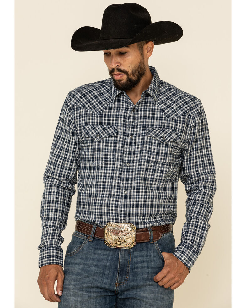 Cody James Men's Ash Small Plaid Long Sleeve Western Flannel Shirt - Big , Navy, hi-res