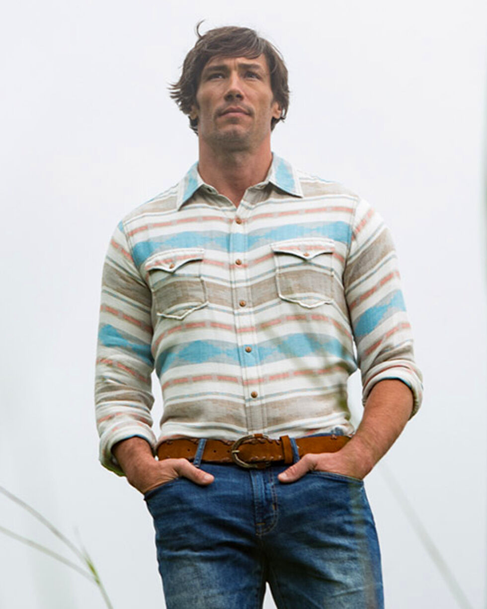 Ryan Michael Men's Glacier Heather Blanket Jacquard Shirt , Multi, hi-res