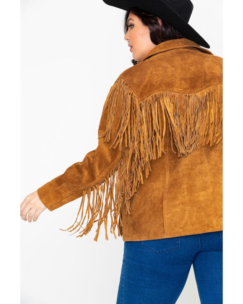 Liberty Wear Women's Suede Fringe Jacket - Plus, Brown, hi-res