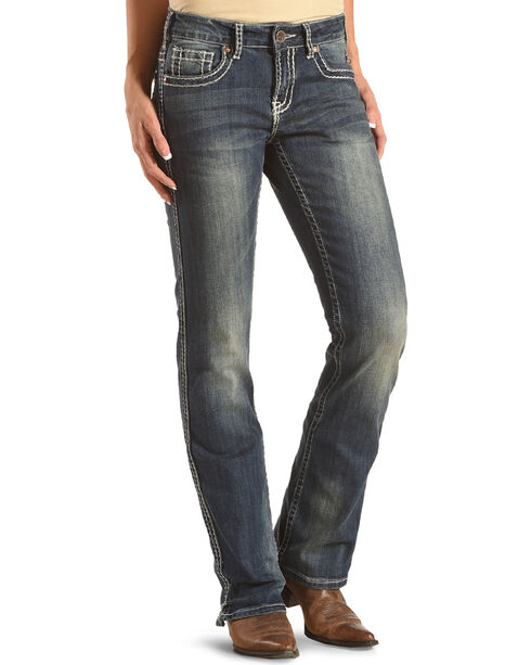 Cowgirl Tuff Women's Blue Barbed Wire Stitch Jeans - Boot Cut , Blue, hi-res