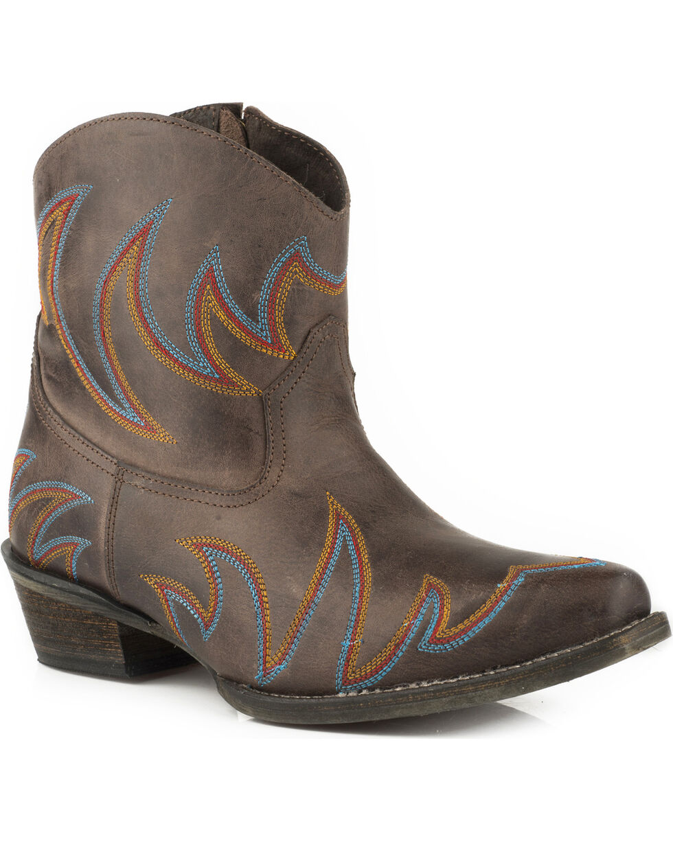 Roper Women's Phoenix Brown Embroidered Short Western Boots - Snip Toe, Brown, hi-res