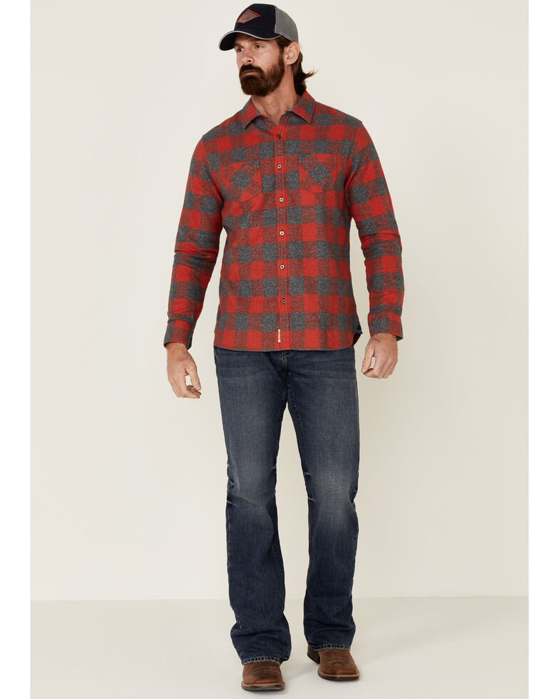 Flag & Anthem Men's Red Harrells Plaid Long Sleeve Western Flannel Shirt , Red, hi-res