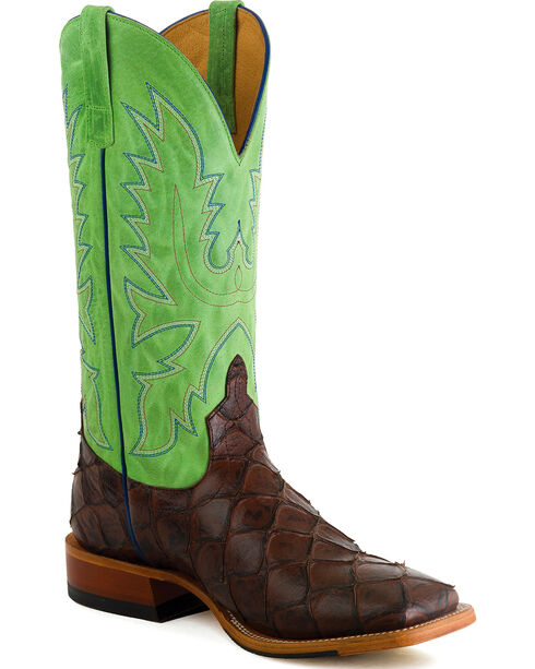Horse Power Men's Chocolate Filet of Fish Print Western Boots - Square Toe , Chocolate, hi-res