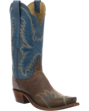 Lucchese Women's Handmade Shelley Chocolate Cowhide Stitched Wingtip Cowgirl Boots - Snip Toe, Black, hi-res