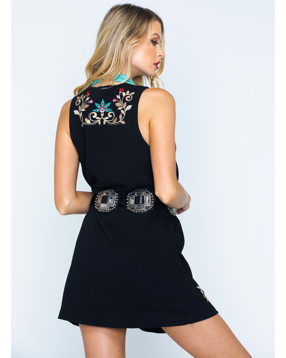 MI. OH. MI. Women's Sleeveless Floral Embroidered Dress, Black, hi-res