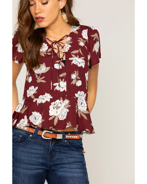Shyanne Women's Floral Lace Up Peplum Top , Burgundy, hi-res